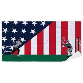 Guys Lacrosse Premium Beach Towel - Go for the Goal Patriotic