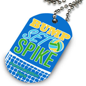Volleyball Printed Dog Tag Necklace Bump Set Spike