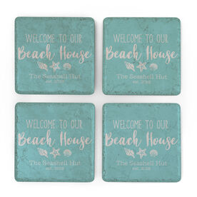 Personalized Stone Coasters Set of Four - Welcome To Our Beach House