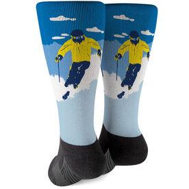 Skiing Printed Mid-Calf Socks - Ski Hard