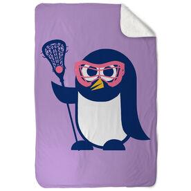 Girls Lacrosse Sherpa Fleece Blanket Lax Penguin