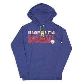 Women's Baseball Lightweight Hoodie - I'd Rather Be Playing Baseball