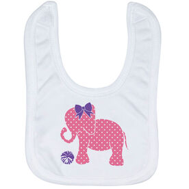 Cheerleading Baby Bib - Cheerleading Elephant with Bow