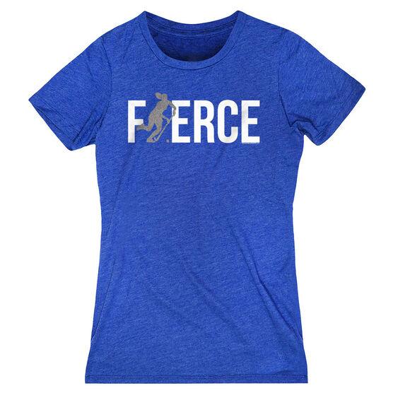 Field Hockey Women's Everyday Tee - Fierce Field Hockey Girl with Silver Glitter