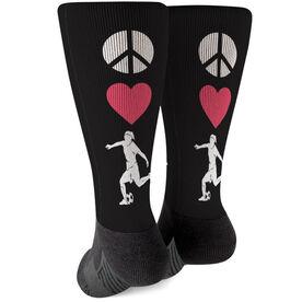 Soccer Printed Mid-Calf Socks - Peace Love Soccer Girl
