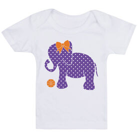 Basketball Baby T-Shirt - Basketball Elephant with Bow