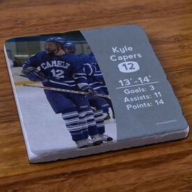 Hockey Stone Coaster Personalized Photo with Stats