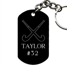 Engraved Personalized Field Hockey Dog Tag Keychain