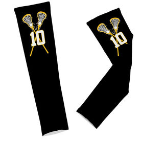 Lacrosse Printed Arm Sleeves Personalized Lacrosse Player with Crossed Sticks