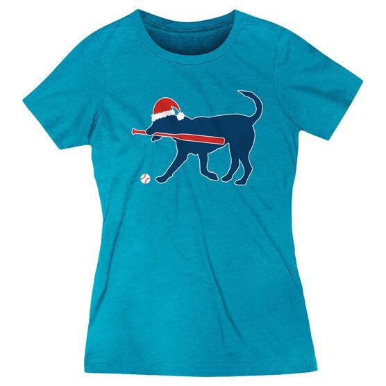 Baseball Women's Everyday Tee - Play Ball Christmas Dog