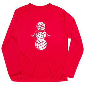 Volleyball Long Sleeve Performance Tee - Volleyball Snowman