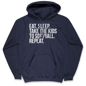 Softball Hooded Sweatshirt - Eat Sleep Take The Kids To Softball