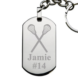 Lacrosse Engraved Stainless Steel Dog Tag Keychain