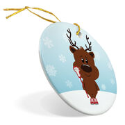 Girls Lacrosse Porcelain Ornament Reindeer Laxer