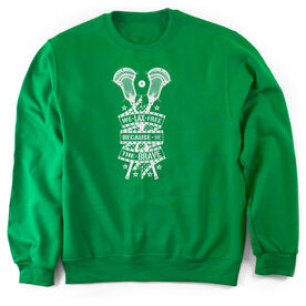 Guys Lacrosse Crew Neck Sweatshirt - We Lax Free Because Of The Brave