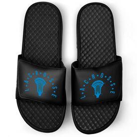 Guys Lacrosse Black Slide Sandals - Lacrosse With Crossed Sticks