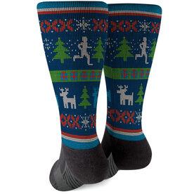 Running Printed Mid-Calf Socks - Christmas Sweater
