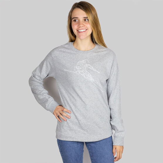 Skiing Long Sleeve T-Shirt - Skier Sketch