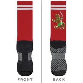 Hockey Printed Mid-Calf Socks - Gingerbread Man