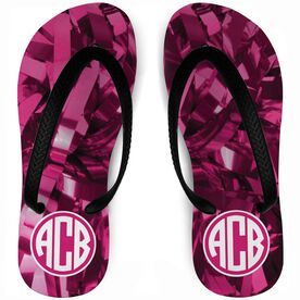 Cheerleading Flip Flops Monogram with Pink Pom Poms