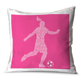Soccer Throw Pillow Personalized Soccer Words Girl
