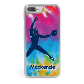 Softball iPhone® Case - Personalized Pitcher With Tie Dye