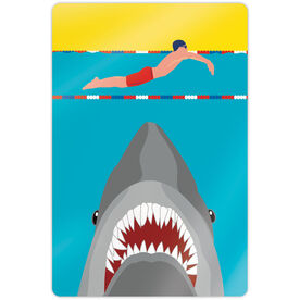 "Swimming 18"" X 12"" Aluminum Room Sign - Shark Attack (Guy Swimmer)"