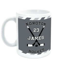 Hockey Coffee Mug Personalized Player with Crossed Sticks