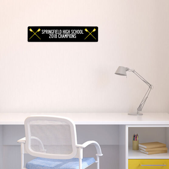 "Crew Aluminum Room Sign - Team Your Text With Crossed Oars (4""x18"")"