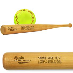 Softball Mini Engraved Bat Rookie Of The Year
