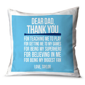 Baseball Throw Pillow Dear Dad Baseball