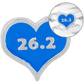 LaceBLING Shoelace Charm - 26.2 Marathon Blue Heart
