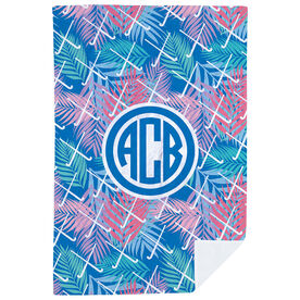 Field Hockey Premium Blanket - Tropical Palm Monogram