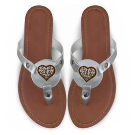 Running Engraved Thong Sandal Filigree Heart
