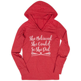 Girls Lacrosse Lightweight Performance Hoodie - She Believed She Could Lacrosse