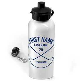 Hockey 20 oz. Stainless Steel Water Bottle Personalized Player Name With Crossed Sticks