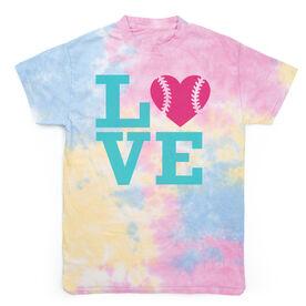 Softball Short Sleeve T-Shirt - LOVE Softball Tie Dye