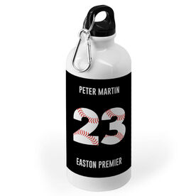 Baseball 20 oz. Stainless Steel Water Bottle - Number Stitches