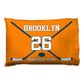Hockey Pillowcase - Personalized Team Crossed Sticks