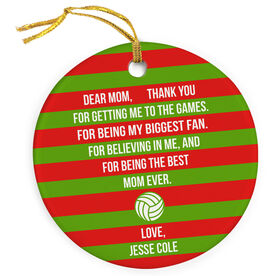 Volleyball Porcelain Ornament - Dear Mom Heart