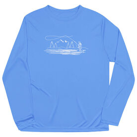 Fly Fishing Long Sleeve Performance Tee - Fly Fishing Sketch