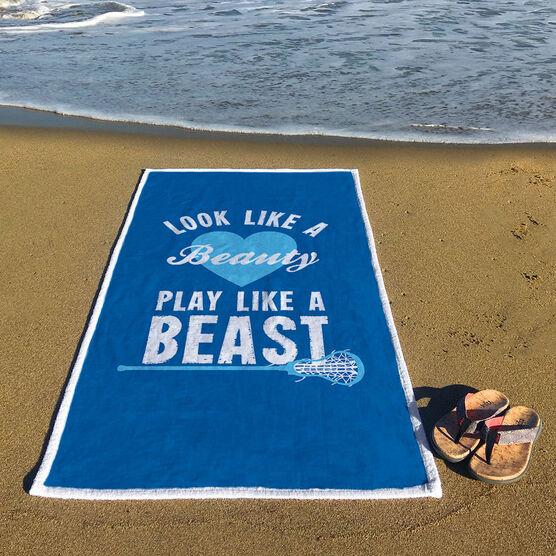 Girls Lacrosse Premium Beach Towel - Look Like A Beauty Play Like A Beast