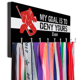Hockey Multi-Hook Medal/Hat Display My Goal Is To Deny Yours