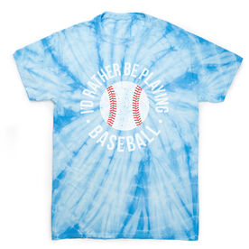 Baseball Short Sleeve T-Shirt - Rather Be Playing Baseball Distressed