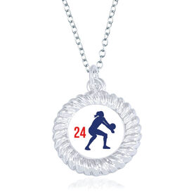 Volleyball Braided Circle Necklace - Female Player Silhouette With Number