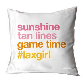 Girls Lacrosse Throw Pillow - Sunshine Tan Lines Game Time