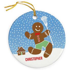 Guys Lacrosse Porcelain Ornament Lax Gingerbread Man