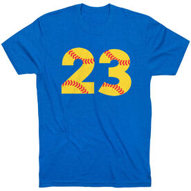 Softball T-Shirt Short Sleeve Number Stitches