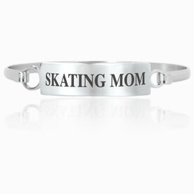 Figure Skating Engraved Clasp Bracelet - Mom (Text)
