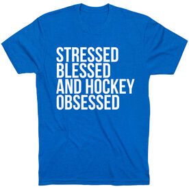 Hockey Short Sleeve T-Shirt - Stressed Blessed and Hockey Obsessed